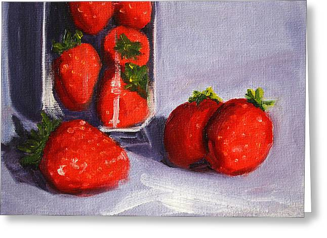 Strawberry Art Greeting Cards - Strawberries and Glass Greeting Card by Nancy Merkle