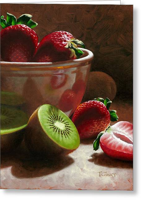 Strawberry Paintings Greeting Cards - Strawberries and Kiwis Greeting Card by Timothy Jones