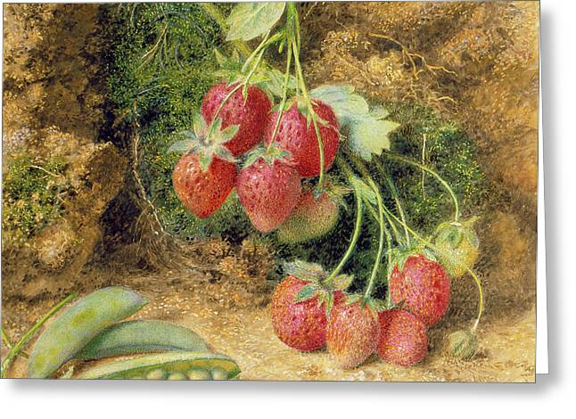 Moss Greeting Cards - Strawberries And Peas Greeting Card by John Sherrin