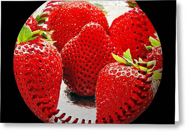 Strawberry Art Greeting Cards - Strawberries Baseball Square Greeting Card by Andee Design