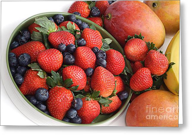 Mango Greeting Cards - Strawberries Blueberries Mangoes And A Banana - Fruit Tray Greeting Card by Andee Design