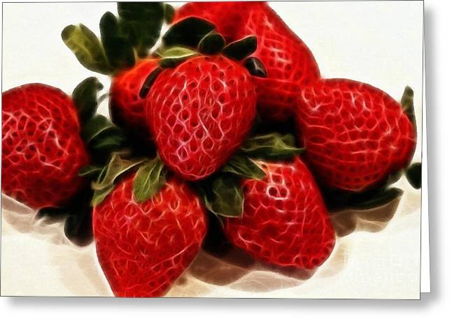Strawberry Bunch Greeting Cards - Strawberries Expressive Brushstrokes Greeting Card by Barbara Griffin