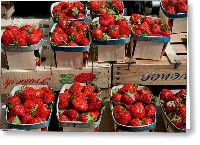 Weekly Greeting Cards - Strawberries For Sale At Weekly Market Greeting Card by Panoramic Images