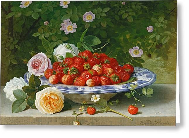 Strawberry Paintings Greeting Cards - Strawberries in a Blue and White Buckelteller with Roses and Sweet Briar on a Ledge Greeting Card by William Hammer