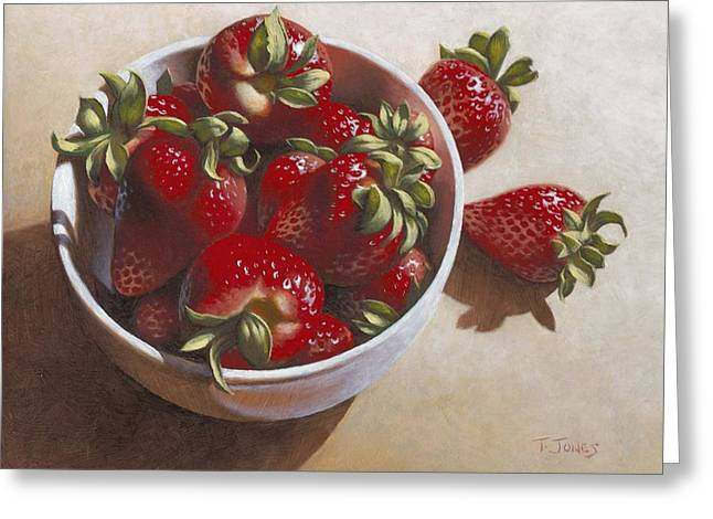 Photorealism Greeting Cards - Strawberries in China Dish Greeting Card by Timothy Jones
