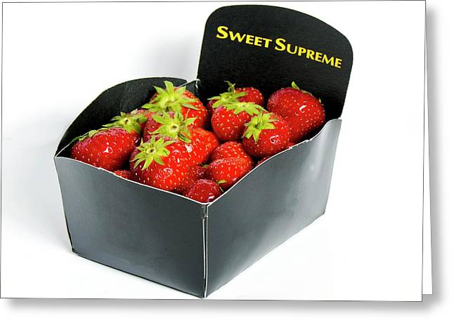 Strawberries In Display Carton Greeting Card by Ian Gowland