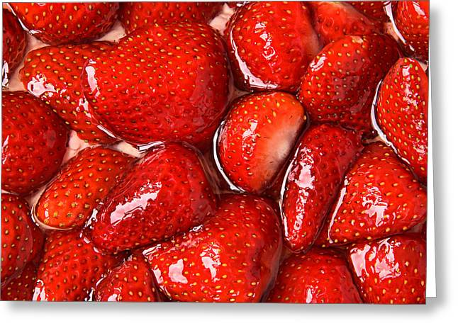 Strawberry Cakes Greeting Cards - Strawberries in Gelatin Greeting Card by Chevy Fleet