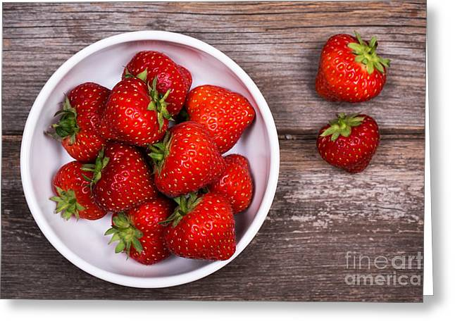 Bright. Table Greeting Cards - Strawberries Greeting Card by Jane Rix