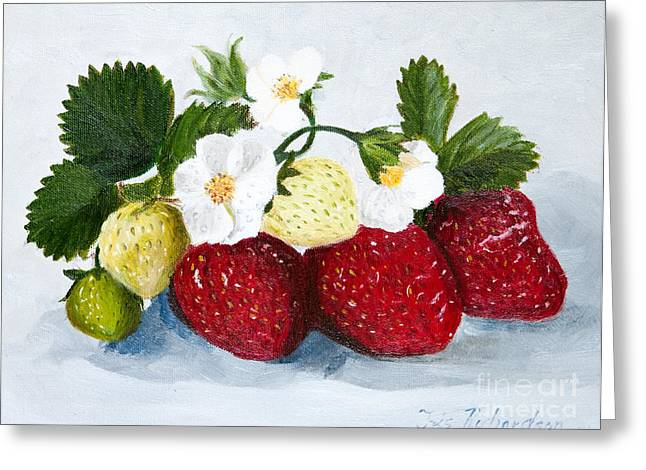 Strawberry Art Greeting Cards - Strawberries with Blossoms Greeting Card by Iris Richardson