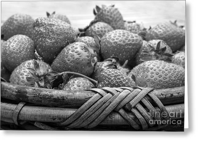 Strawberry Basket Black And White Greeting Card by Iris Richardson