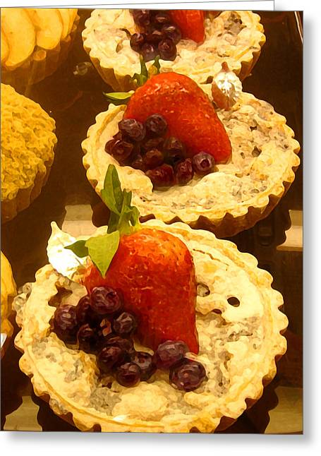 Frosting Greeting Cards - Strawberry Blueberry Tarts Greeting Card by Amy Vangsgard