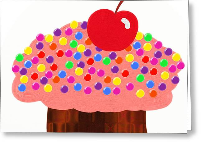 Strawberry Cupcake Greeting Card by Andee Design