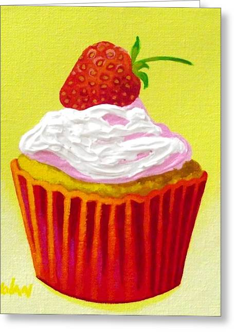 Cupcakes Greeting Cards - Strawberry Cupcake Greeting Card by John  Nolan