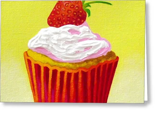 Menu Paintings Greeting Cards - Strawberry Cupcake Greeting Card by John  Nolan