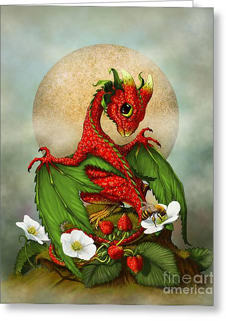 Bee Greeting Cards - Strawberry Dragon Greeting Card by Stanley Morrison