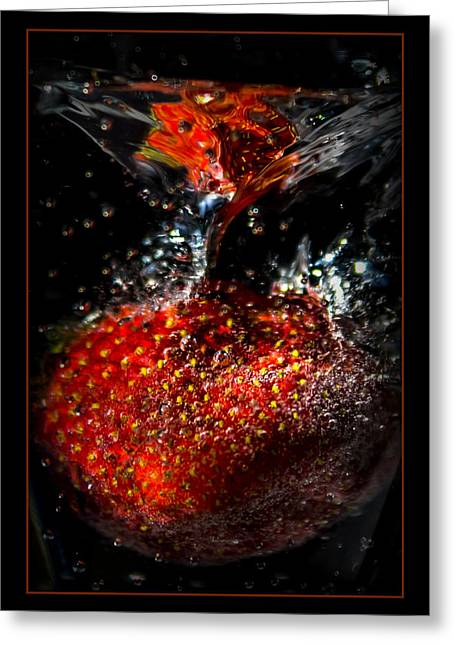 Strawberry Art Greeting Cards - Strawberry Dunk Greeting Card by Ernie Echols