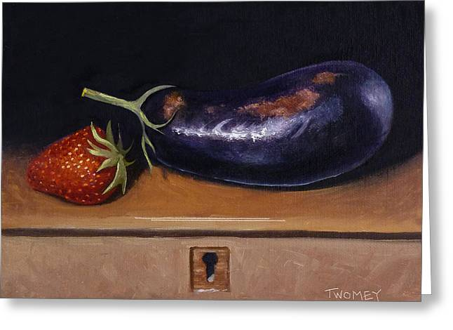 Strawberry Eggplant Locked Greeting Card by Catherine Twomey