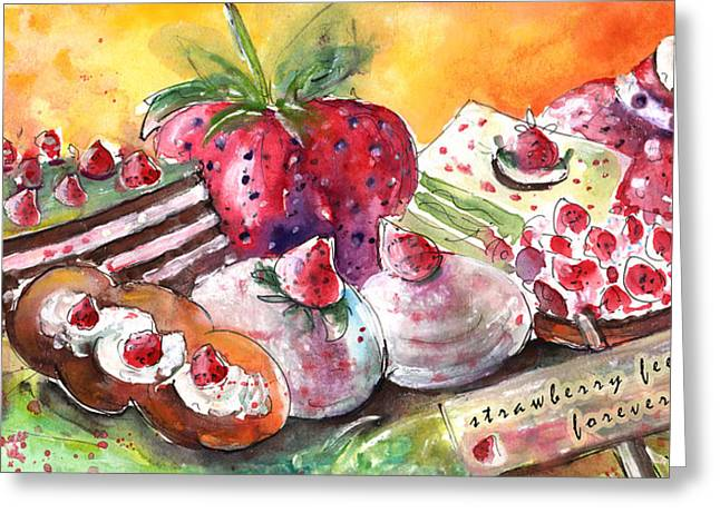 Strawberry Feelings Forever Greeting Card by Miki De Goodaboom