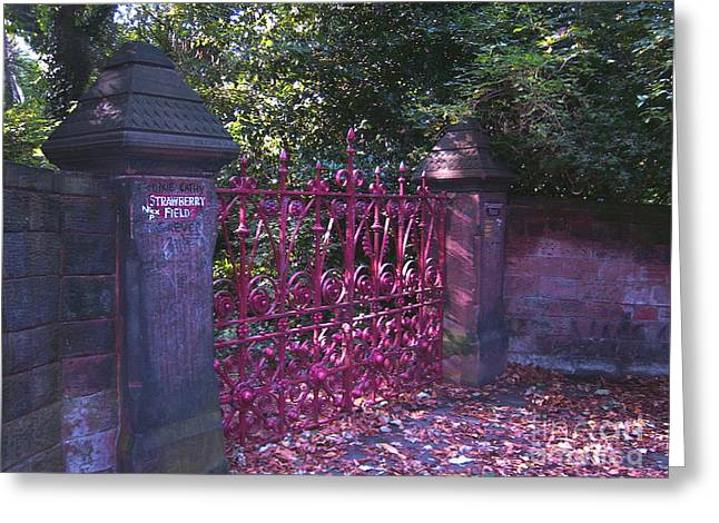 Strawberry Field Gates Greeting Card by Steve Kearns