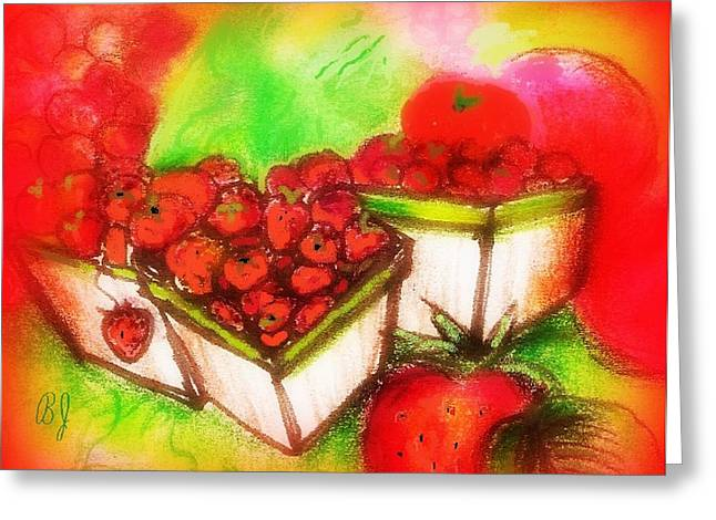 Watermelon Mixed Media Greeting Cards - strawberry Fields Greeting Card by Barbara LeMaster