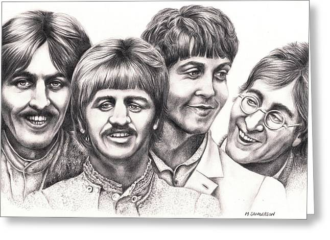 Ringo Starr Drawings Greeting Cards - Strawberry Fields - forever Greeting Card by Margaret Sanderson