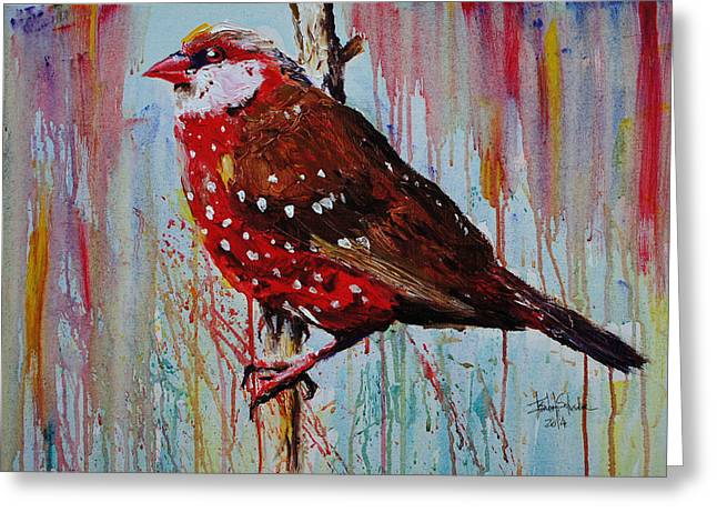 Strawberry Art Greeting Cards - Strawberry Finch Greeting Card by Isabel Salvador