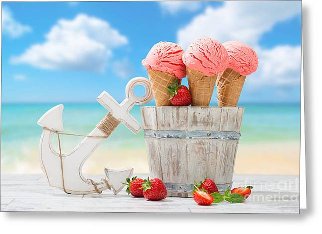 Strawberry Greeting Cards - Strawberry Fruit Ice Cream Greeting Card by Amanda And Christopher Elwell