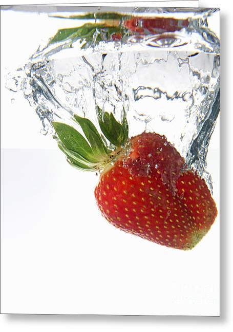 Consumerproduct Greeting Cards - Strawberry fruit splashing underwater Greeting Card by Sami Sarkis
