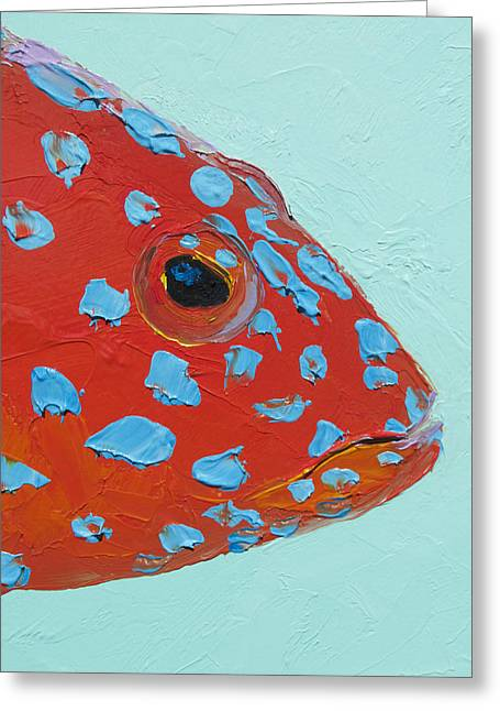 Beach Cottage Style Greeting Cards - Strawberry Grouper Fish Greeting Card by Jan Matson