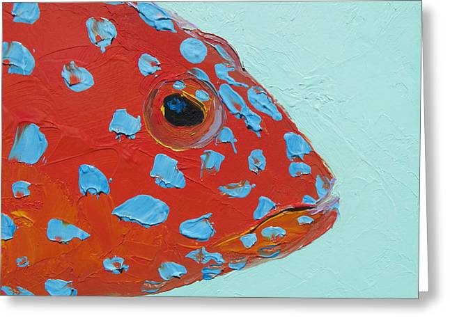 Cabin Wall Greeting Cards - Strawberry Grouper Fish Greeting Card by Jan Matson