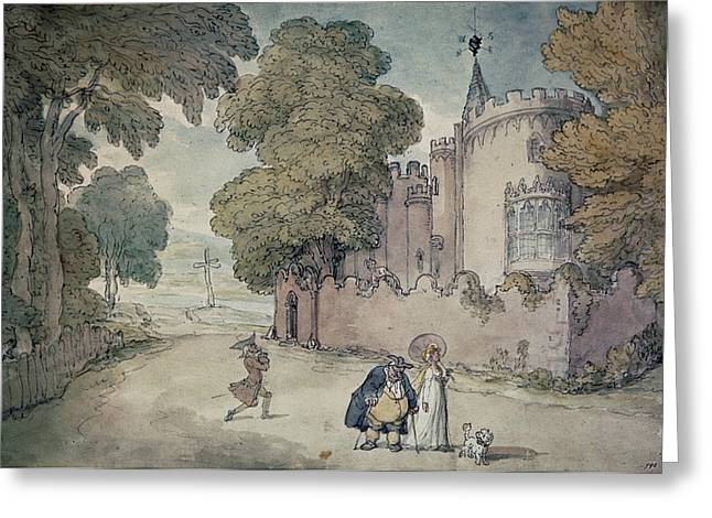 Gothic Revival Greeting Cards - Strawberry Hill Hand Coloured Aquatint Greeting Card by Thomas Rowlandson