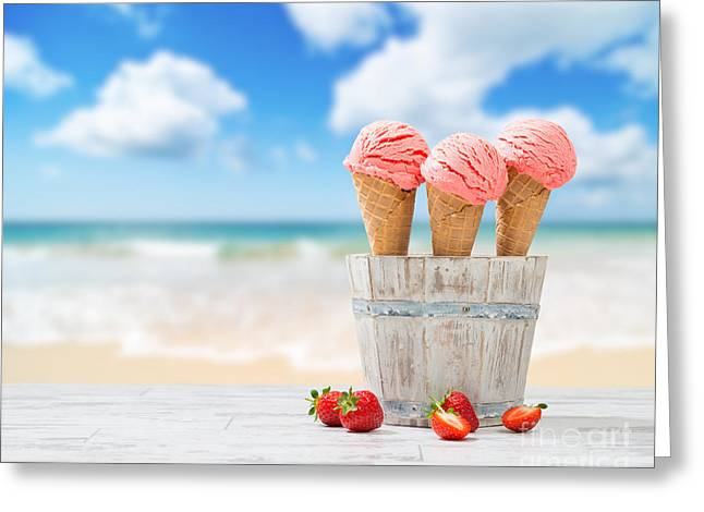 Blurred Background Greeting Cards - Strawberry Ice Creams Greeting Card by Amanda And Christopher Elwell