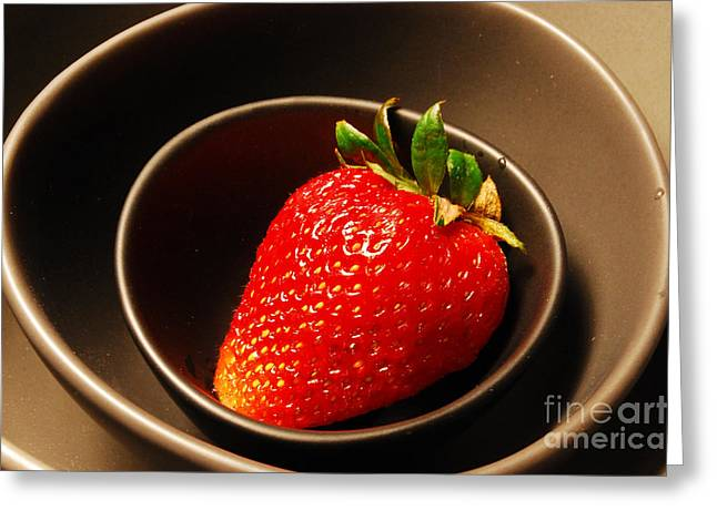 Strawberry In Nested Bowls Greeting Card by Nancy Mueller