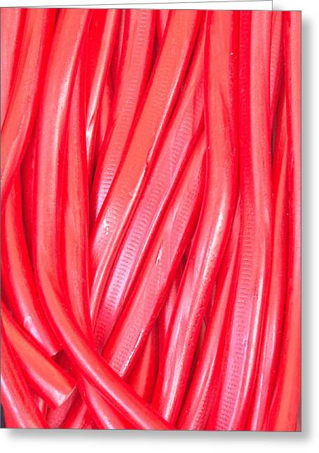Gummy Candy Greeting Cards - Strawberry laces Greeting Card by Tom Gowanlock
