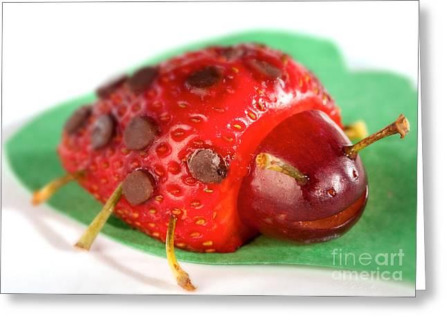 Strawberry Art Greeting Cards - Strawberry Ladybug Greeting Card by Iris Richardson