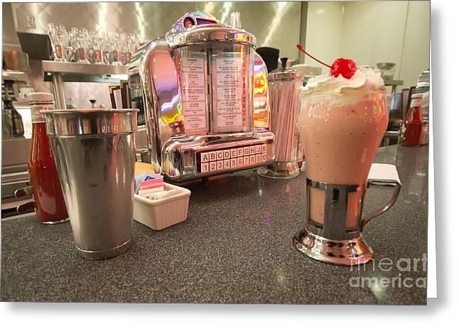 American Food Greeting Cards - Strawberry Malt Shake  Greeting Card by Rob Hawkins