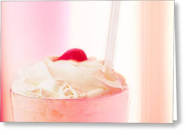 Wrapped Canvas Greeting Cards - Strawberry Milkshake Greeting Card by Amy Tyler