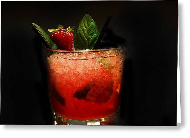 Mojito Greeting Cards - Strawberry Mojito Greeting Card by Gina Dsgn