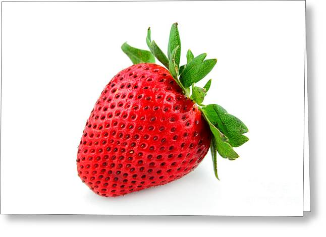Berry Greeting Cards - Strawberry on WhiteII Greeting Card by Darren Fisher