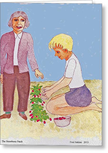 Strawberry Patch Greeting Card by Fred Jinkins