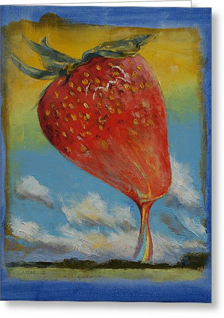 Strawberry Paintings Greeting Cards - Strawberry Rainbow Greeting Card by Michael Creese