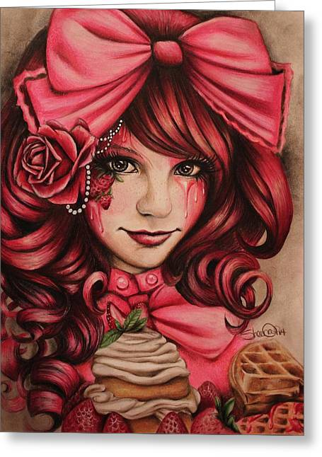 Pink Pastels Greeting Cards - Strawberry Greeting Card by Sheena Pike