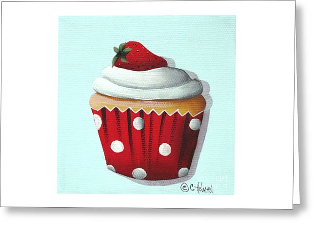 Strawberry Shortcake Cupcake Greeting Card by Catherine Holman