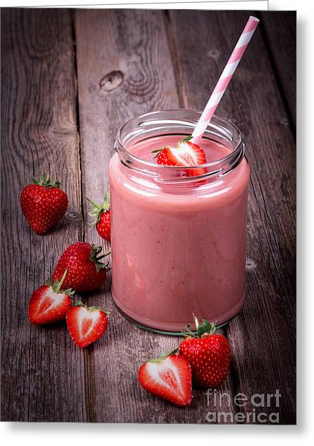 Slices Greeting Cards - Strawberry smoothie Greeting Card by Jane Rix