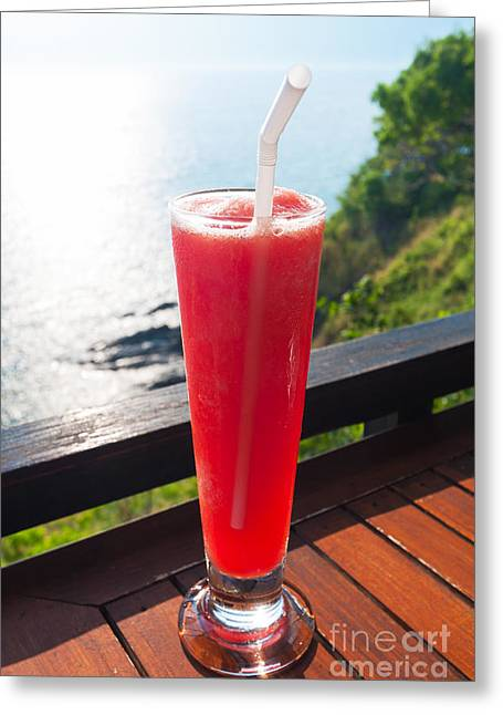 Bartender Greeting Cards - Strawberry smoothie soda Greeting Card by Atiketta Sangasaeng