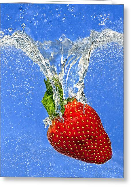Blue Green Wave Greeting Cards - Strawberry Splashing Into Water Greeting Card by Judy Kennamer