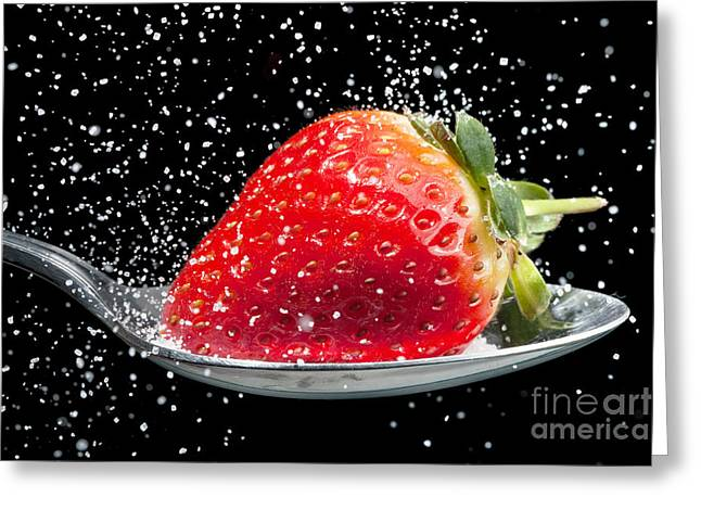 Granular Greeting Cards - Strawberry sprinkled with sugar close up Greeting Card by Simon Bratt Photography LRPS