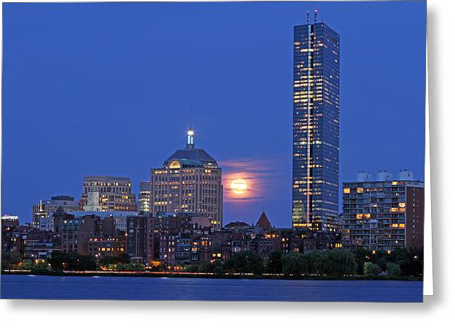 Charles River Greeting Cards - Strawberry Supermoon over Boston Skyline Greeting Card by Juergen Roth