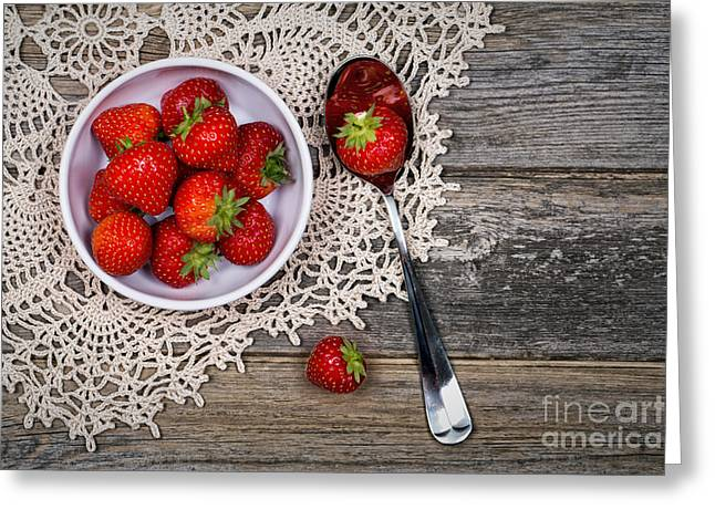 Tabletop Greeting Cards - Strawberry vintage Greeting Card by Jane Rix