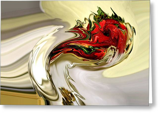 Strawberry Art Greeting Cards - Strawberry Wine Greeting Card by Karen M Scovill